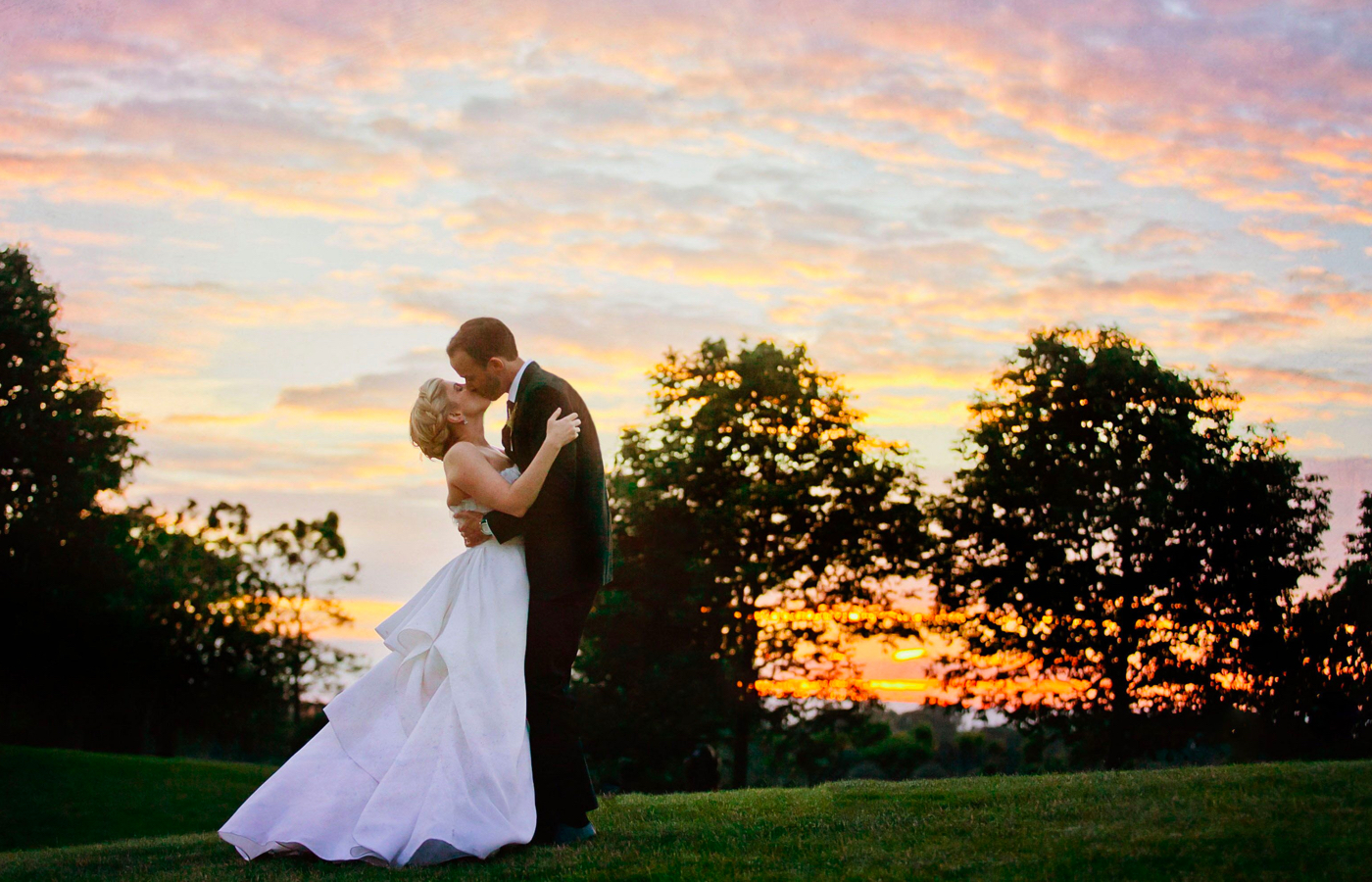 Bride and groom in open field wedding Chicago event space